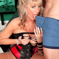 Wonderful grandmother adult film starlet Phoenix Skye seducing sex from younger boy in tempting lingerie